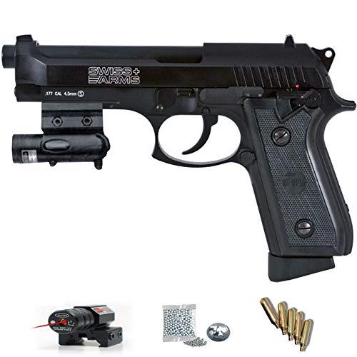 P92 BLOWBACK Swiss Arms láser - Pack Pistola de Aire comprimido (CO2) y balines de Acero (perdigones BBS) Calibre 4.5mm. Réplica Tipo Beretta 92 <3,5J