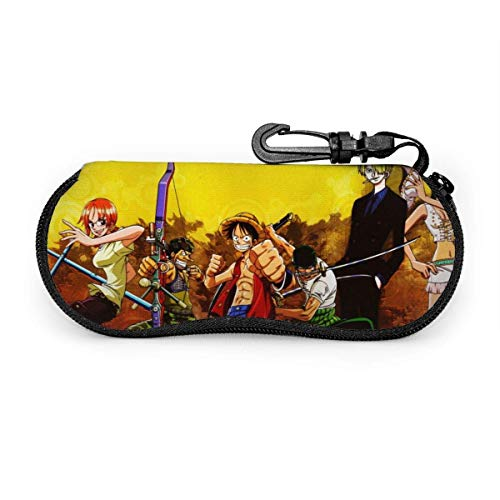 Anime Glasses Case Waterproof with Carabiner for Safety Glasses with Zipper,Portable Sunglasses Soft Case,Belt Clip
