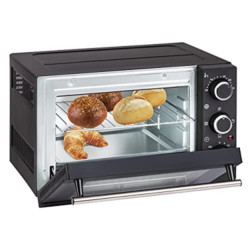 Slabo HORNOS COMPACTOS 15 litros   1200 Watt Mini Horno con Calor Superior e Inferior 100-230 °C   60 Minutos   práctico ayudante de Cocina con función de Temporizador   Cristal Doble - Negro