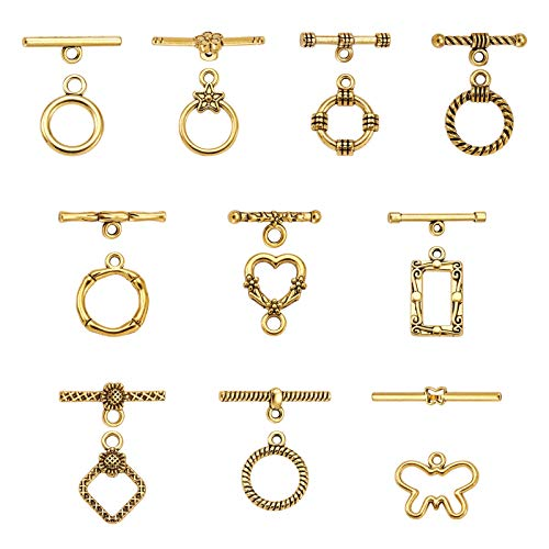PandaHall 100 Sets Tibetan Style Alloy Toggle Clasps Connectors Ring Heart Rhombus Antique Golden Toggle TBar Clasps for Necklace Bracelet Jewelry Making