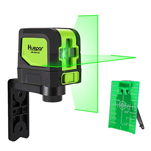 Huepar 9011G kruislijnlaser groen, DIY lijnen laser met zelfnivellerende en hellingsfunctie, H110° / V110° stralingshoek, 15m werkbereik, incl. magnetische houder en 2 AA batterijen