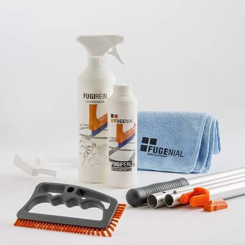 Fuginator - Set de limpieza de juntas para baño, cocina y hogar (reciclaje, mango, adaptador, limpiador y fuginador)