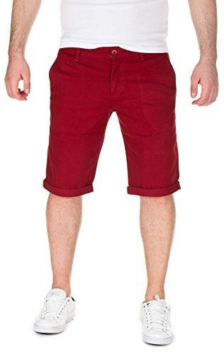 WOTEGA Herren Chino Shorts Bermuda Wein Rot Hose Kallari Kurze Bordo Short Männer Hosen Sommer Rote Stretch Capri Hose Slim, Port (86448), W31