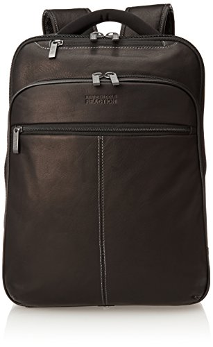 Kenneth Cole Reaction Back-Stage Access Slim Colombian Leather TSA Checkpoint-Friendly 16' Laptop & Tablet Travel Business Backpack, Black