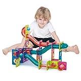 ZWW Juguetes De Bloques De Azulejos Magnéticos 3D para Niños, Juego Educativo De Construcción con Pista De Canicas De Plástico | Stem Toy Promueve La Creatividad - 115 PCS