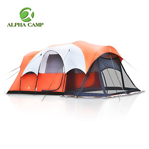 ALPHA CAMP 6 Person Family Tent with Screen Room Cabin Tent Design - 17' x 9'