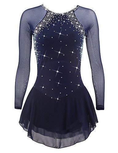 GW Vestido de Patinaje artístico para niñas, Mujeres, Vestido de Patinaje sobre Ruedas Competencia de Rendimiento Profesional Traje Cristales Vestidos de Patinaje Manga Larga Azul Oscuro