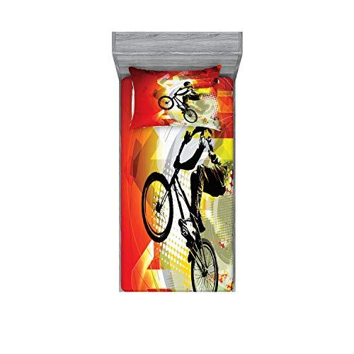 Lunarable Dirt Bike Fitted Sheet & Pillow Sham Set, BMX Rider Silhouette on Colorful Background Halftone Effect Extreme Sports, Decorative Printed 2 Piece Bedding Decor Set, Twin, Orange Black