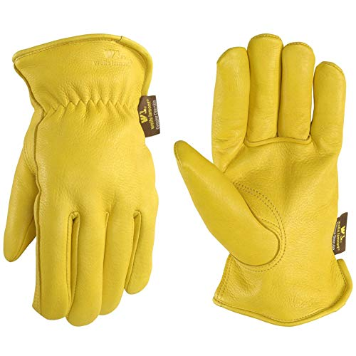 Men's Deerskin Winter Work Gloves,100-gram Thinsulate Insulation, Fleece-Lined, X-Large (Wells Lamont 963XL)