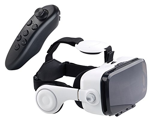 auvisio VR Brille mit Controller: Virtual-Reality-Brille mit Headset & Game-Controller im Set, Bluetooth (VR Headset)