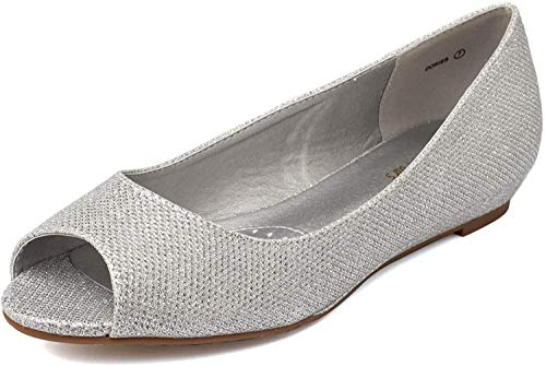 DREAM PAIRS Women's Dories Silver Glitter Low Wedge Peep Toe Flats Shoes Size 9 M US