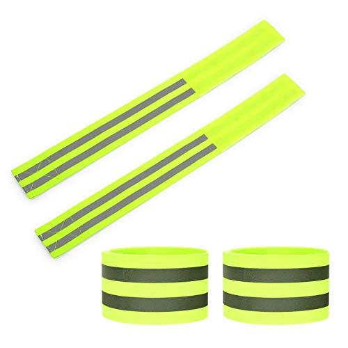 Kuyang 4er Set Doppel Reflektorbänder Reflektierendes Armband Reflektor Reflexband für Outdoor Jogging, Radfahren, Wandern, Motorrad-Reiten oder Laufen