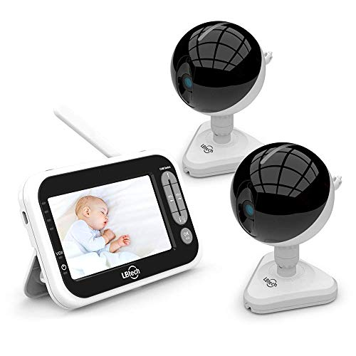LBtechVideo Baby Monitor with 2 Cameras and 4.3 inches Large LCD Screen,Automatic Night Vision,Two-Way Talkback/Audio,Temperature Detection,Power Saving/Vox,Zoom in Lens,Support Multi Camera Monitors