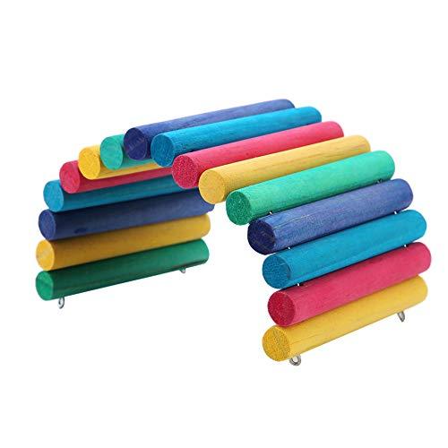 Ruiqas Hámster Escalera de Madera Colorida Puente Flexible Juguete Ratón Rata Roedores Juguete Animal Pequeño Juguete para Masticar Loro Escalada Herramienta de Ejercicio (Color