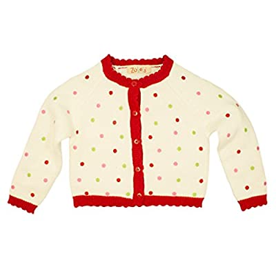 Zubels Baby Girls' Hand-Knit Cotton Polka Dot Sweater, All-Natural, 18 Months, White