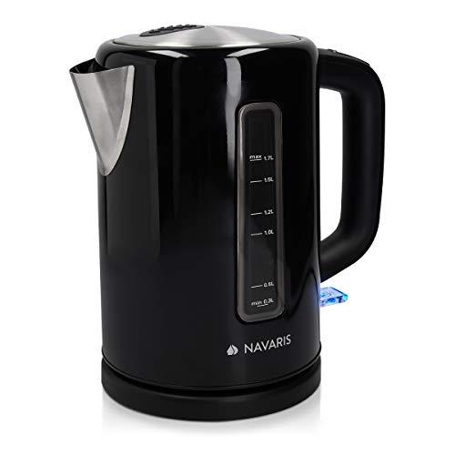 Navaris Hervidor de Agua electrico 1.7L - Tetera para hervir Agua con Apagado automatico y Filtro para Cal - Calentador de Acero Inoxidable en Negro