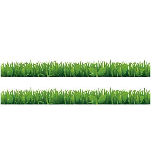 Wandkings Bordüre - Wähle ein Motiv - Gras mit Blättern - 2x selbstklebende Wandbordüren je 100 cm - Gesamtlänge: 200 cm - Höhe: 12,5 cm