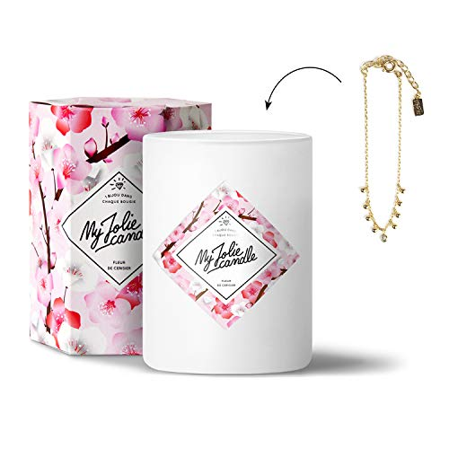 MY JOLIE CANDLE - Bougie parfumée avec Bijou Suprise à l'intérieur - Bijou : Bracelet en Plaqué Or - Parfum : Fleur de Cerisier - Cire Naturelle végétale - 330g - 70h Combustion