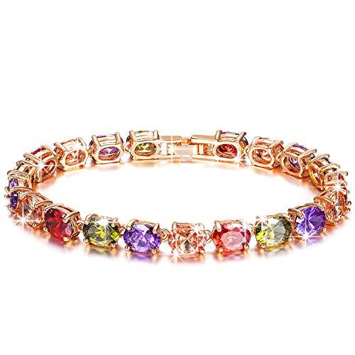Kami Idea Bracciale per Donna - Oltre l'arcobaleno - Bracciale Tennis, Bracciale con Cristalli in Quattro Colori Stile Bohémien, Cristalli di Swarovski, Gioielli per Donna, Confezione Regalo