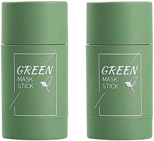 2Pcs Cleansing Facial Mask Stick for All Skin Types, Eggplant/Green Tea Purifying Clay Stick Mask, Effectively Reduce Blackheads, Clean Pores, Control Oil, and Improve Facial Dullness 2pcs Green Tea