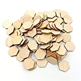 healifty Kunstnägel 25mm Buche Holz Sechskant-teilig Ornaments Formen aus Holz ORNAMENTS Verzierung für Hochzeit Geburtstag Weihnachten