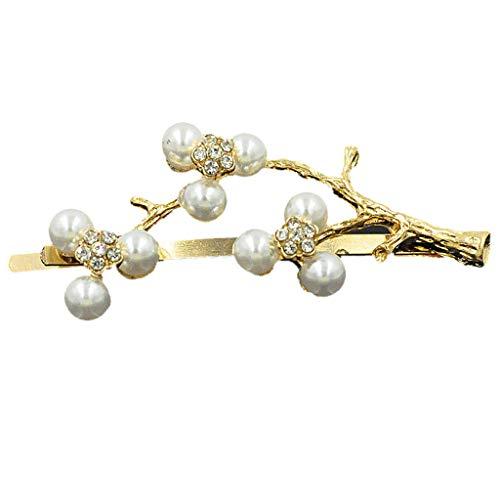 Liangjunjun - Fermaglio per capelli da donna, per ragazza, in metallo, per capelli ricurvi con strass, a forma di fiore di prugno
