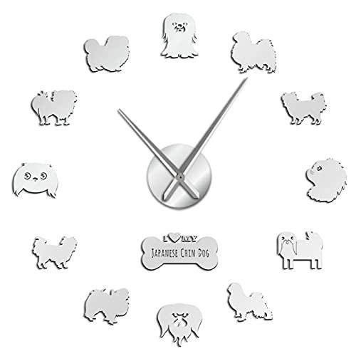 hufeng Reloj de pared con diseño con texto 'I Love My Japanese Chin Dog DIY Wall Clock Pegatinas para cachorros y mascotas, decoración del hogar, plata de 47 pulgadas