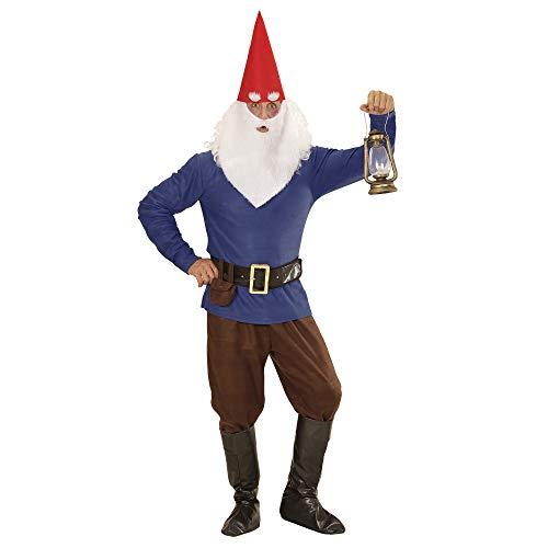 Widmann 01341 - Erwachsenenkostüm Zwerg, Jacke, Hose, Gürtel mit Tasche, Schuhüberzieher, Augenbrauen und Bart, blau