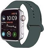 VIKATech Correa de Repuesto Compatible con Apple Watch de 44 mm 42 mm, Correa de Silicona Suave de Repuesto para iWatch Series 5/4/3/2/1, M/L, Verde Pino