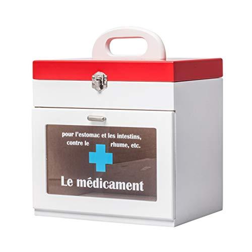 TLMYDD Houten Medicine Box Eerste Hulp Kit Baby Kindergeneeskunde Opbergdoos Voor Familie Gebruik 29x24x19cm EHBO-kit