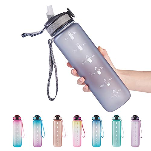 EYQ 32 oz Water Bottle with Time Marker, Carry Strap, Leak-Proof Tritan BPA-Free, Ensure You Drink Enough Water for Fitness, Gym, Camping, Outdoor Sports (Gray)
