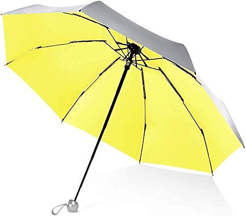Mini paraguas plegable para mujer, paraguas plegable de bolsillo, paraguas de sol, protector solar, portátil, paraguas de viaje, para mujeres y niñas, color beige (color: amarillo) - amarillo -