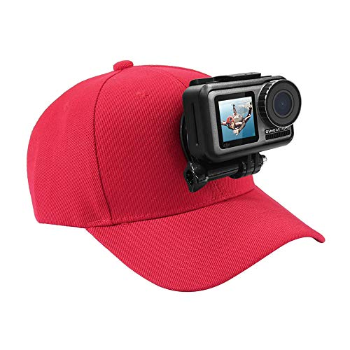 YUANYI Gorra de béisbol GoPro con base de soporte en J para GoPro NEW Hero /HERO7 /6/5/5 Session /4 Session /4/3+/3/2/1, DJI Osmo Action, Xiaoyi y otras cámaras de acción (rojo)