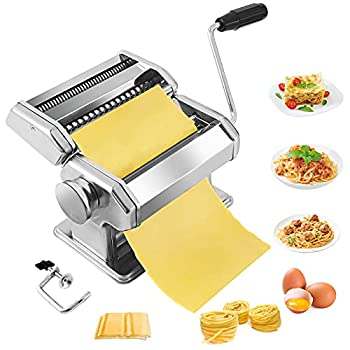 Pasta Maker,Stainless Steel Manual Pasta Maker Machine With 8 Adjustable Thickness Settings,2 Blades Noodle Cutter Perfect for Homemade Spaghetti Fettuccini Lasagna,or Dumpling Skins
