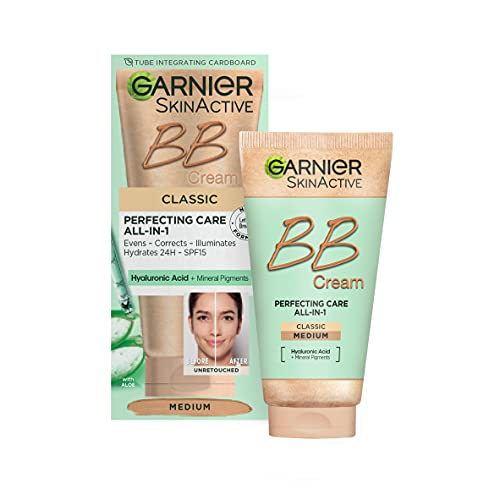 NEW & IMPROVED Garnier SkinActive Classic Perfecting All-in-1 BB Cream, Shade Classic Medium, Tinted Moisturiser SPF 15, Brightens and Evens Skin, With Hyaluronic Acid, Aloe & Mineral Pigments, 50 ml