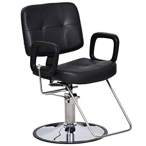 Paddie Barber Salon Chairs Reclining All Purpose Hydraulic Swivel Classic Hair Stylist for Barbershop Beauty Spa Shampoo, Black