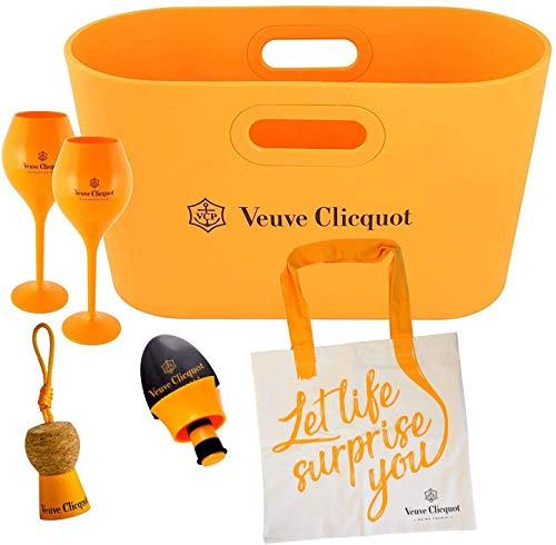 Veuve Clicquot Champagne Bottle Cooler, Paper Basket, Shopping Bag, Ice Bucket, Flower Vase Yellow Design