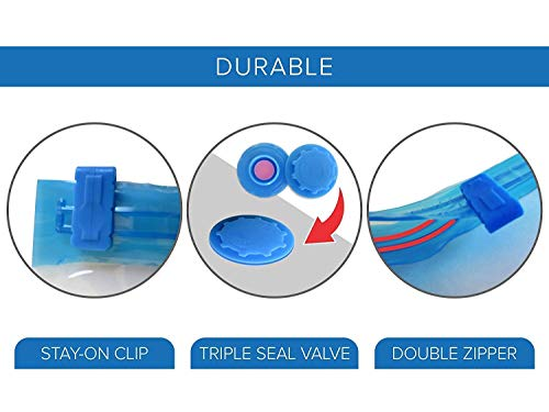 SCILLA Reusable Space Saver Bag, Vacuum Storage Bag, Zip lock - Quilts with Compact Hand Pump, Compression Bag for Home & Travel | 2 Medium(59cm x 49cm) & 2 Large(79cm x 59cm) - Pack of 4