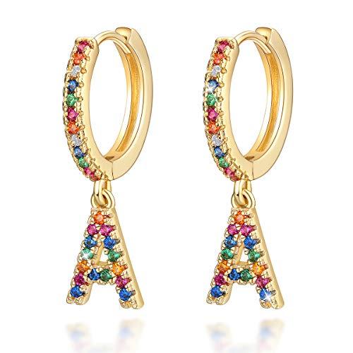 Pendientes Letras para Niñas Mujeres, arcoíris Pendientes aros con Colgante Iniciales A Circonitas Colores Pendientes Colgantes de aro Joyas Regalos