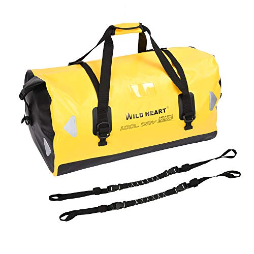 WILD HEART Waterproof Bag Duffel Bag 40L 66L 100L with Welded Seams Shoulder Straps, Mesh Pocket for Kayaking, Camping, Boating,Motorcycle (100L Yellow add bottom with rope)