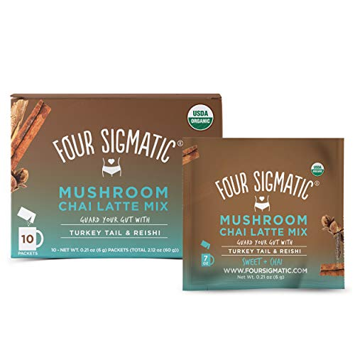 Chai Latte by Four Sigmatic, Organic Instant Chai Latte with Turkey Tail, Reishi Mushrooms & Coconut Milk Powder, Support Gut & Digestion Health, Decaf + No Dairy, 10 Count