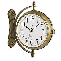 Bestime 13inch Metal Case Double Side Clock. Antique Tin Look. Indoor/Outdoor Garden