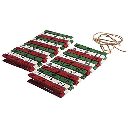 Rayher 66029000Grapas 1–24, Caja de PVC, 24Unidades, MDF, Multicolor, 1,5x 0,76x 0,3cm