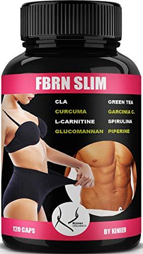 FBRN Brûleur de Graisses | Contrôle du Poids - Homme & Femme | Cla, Curcuma, L-carnitine, Spiruline, Glucomannane, Garcinia Cambogia, Thé vert | 120 gélules