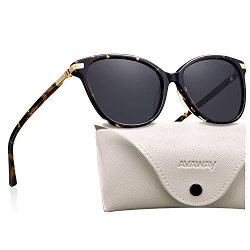 AVAWAY Vintage Donna Occhiali da Sole Polarizzati Oversize UV400 Protezione Lente Telaio in Acetato, A2