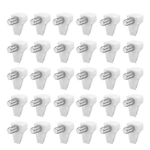 Derbway 40 Pezzi Perni di Supporto per Mensola, Plastica Nichelato Reggipiano Diametro Foro 5mm Carico 60kg Usato per Ripiano in Vetro Dell'armadio (Bianca)