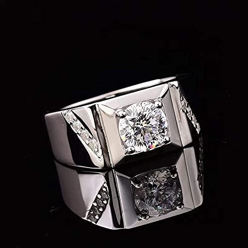 JIUXIAO S925 Plata esterlina Plateada Platino Anillo de Diamantes de Laboratorio para Hombres Anillos de Diamantes de Laboratorio para Hombres