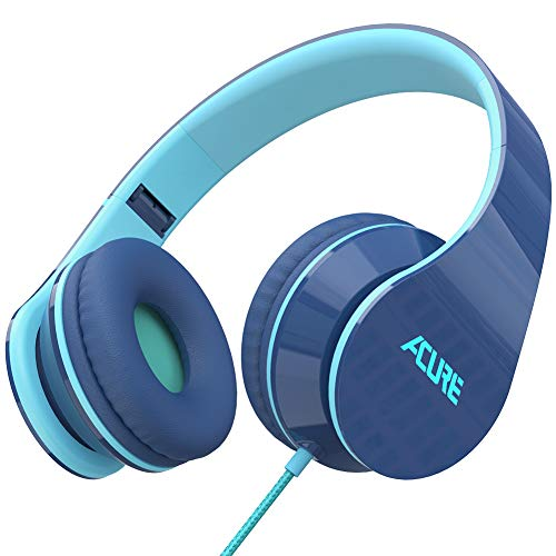 ACURE AC02 Wired Headphones with Lightweight Over Ear Design for Girls Boys Kids, Stereo Foldable Headset Compatible with Laptop Tablet PC Computer (Indigo)