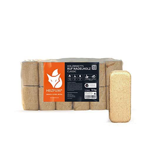 HEIZFUXX Holzbriketts Nadelholz Ruf Classic Kamin Ofen Brenn Holz Heiz Brikett 10kg x 3 Gebinde 30kg / 1 Karton Paligo