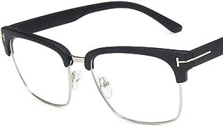 Unisex Glasses Frame Fashion Black Gold Rectangle Half Frame Decoration Prescription Glasses